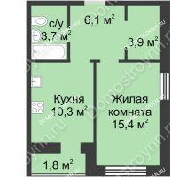 1 комнатная квартира 41,2 м², ЖК Дом на Иванова - планировка