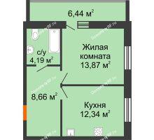 1 комнатная квартира 42,28 м² в ЖК Южный бульвар, дом №14 - планировка