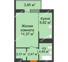 1 комнатная квартира 34,27 м² в ЖК На Хмельницкого, дом № 3 - планировка