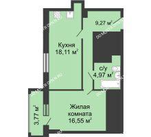 1 комнатная квартира 50,79 м², ЖК Гелиос - планировка