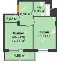 1 комнатная квартира 46,37 м² в ЖК Циолковский, дом № 3 - планировка