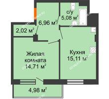 1 комнатная квартира 46,37 м² в ЖК Циолковский, дом № 5 - планировка