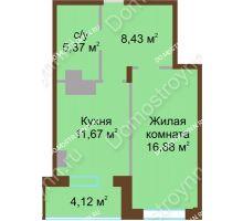 1 комнатная квартира 46,05 м² в ЖК Солнечный город, дом на участке № 208 - планировка