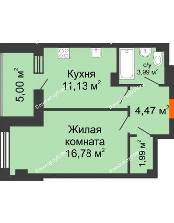1 комнатная квартира 43,36 м² - ЖК Площадь Ленина