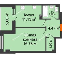 1 комнатная квартира 43,36 м², ЖК Площадь Ленина - планировка