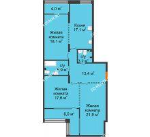 3 комнатная квартира 103,2 м², ЖК Лайнер на Барминской - планировка