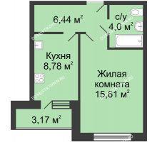 1 комнатная квартира 36,42 м² в ЖК Удачный, дом № 4