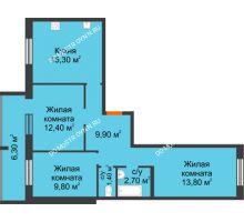 3 комнатная квартира 68,5 м² в ЖК Удачный 2, дом № 1 - планировка