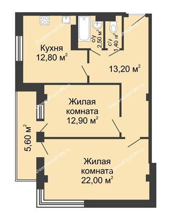 2 комнатная квартира 67,6 м² - ЖК Дом на Береговой