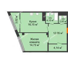 1 комнатная квартира 54,73 м² в ЖК Renaissance (Ренессанс), дом № 1 - планировка