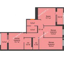 3 комнатная квартира 90,4 м² в ЖК Айвазовский, дом ГП 2 Дом «Средиземный» - планировка