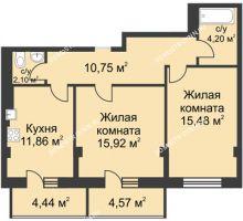 2 комнатная квартира 63,01 м² в ЖК Премиум, дом №1