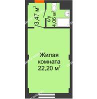 Апартаменты-студия 29,73 м², Апарт-Отель Гордеевка - планировка
