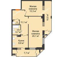 2 комнатная квартира 66,9 м² - ЖК на ул. Греческого Города Волос, 82