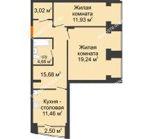 2 комнатная квартира 66,76 м², Клубный дом на Ярославской - планировка