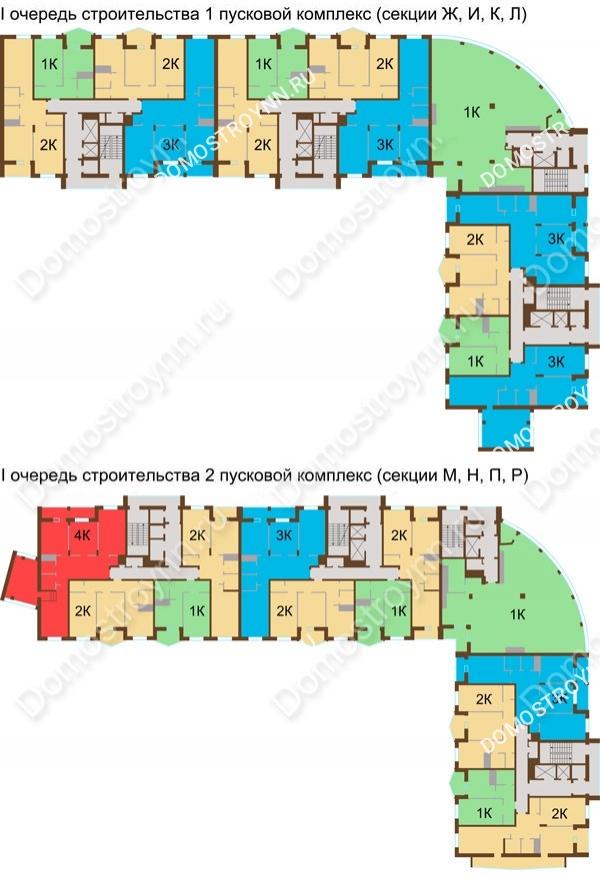 Планировка 15 этажа в доме № 89, корп. 1, 2 в ЖК Монолит