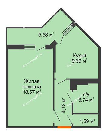 1 комнатная квартира 39,35 м² в ЖК Семейный парк, дом Литер 2