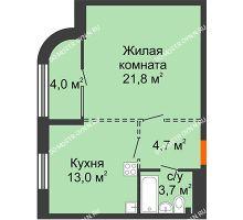 1 комнатная квартира 45,2 м², ЖК Лайнер на Барминской - планировка