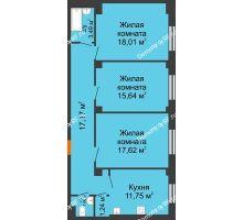 3 комнатная квартира 86,97 м² в ЖК Ясный, дом № 10 - планировка