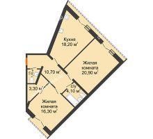2 комнатная квартира 75,2 м², Жилой дом: г. Дзержинск, ул. Кирова, д.12 - планировка