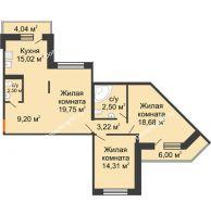 2 комнатная квартира 94,7 м² в ЖК Каскад, дом 7-8 секция - планировка