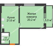 1 комнатная квартира 47,8 м² в ЖК Подкова на Родионова, дом № 2 - планировка