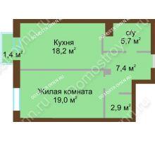 1 комнатная квартира 53,9 м², Жилой дом: ул. Почаинская д. 33 - планировка