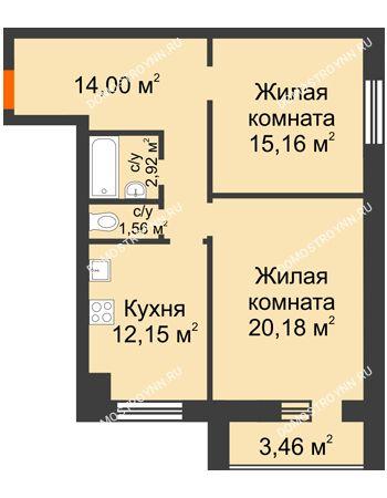 2 комнатная квартира 67,7 м² в ЖК Парк Горького, дом 62/18, № 6