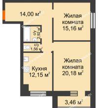 2 комнатная квартира 67,7 м² в ЖК Парк Горького, дом 62/18, № 6 - планировка