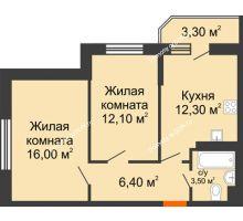 2 комнатная квартира 52 м² в ЖК Южный Берег, дом Литер 4 - планировка