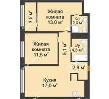 2 комнатная квартира 58,2 м² в Квартал Новин, дом 6 очередь ГП-6 - планировка