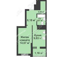 1 комнатная квартира 38,49 м² в ЖК Маленькая страна, дом № 1 - планировка