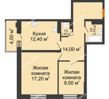 2 комнатная квартира 58 м² в ЖК Вересаево, дом Литер 5/1 - планировка