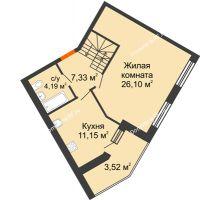 2 комнатная квартира 91,74 м² в ЖК Бунина парк, дом 3 этап, блок-секция 3 С - планировка