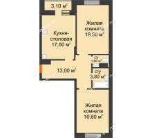 2 комнатная квартира 73,2 м² в ЖК Адмирал, дом 3 Очередь - планировка