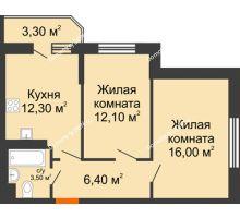 2 комнатная квартира 52,1 м² в ЖК Южный Берег, дом Литер 4 - планировка