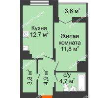 1 комнатная квартира 39,7 м² в ЖК КМ Анкудиновский парк, дом № 14 - планировка