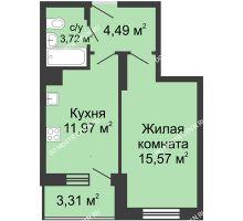 1 комнатная квартира 39,06 м² в ЖК Красная поляна, дом № 6