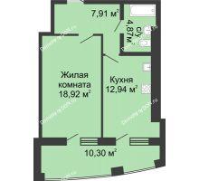 1 комнатная квартира 54,94 м² в ЖК Тихий Дон, дом № 2 - планировка