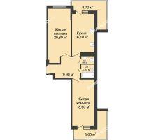 2 комнатная квартира 79,5 м² в ЖК Первый, дом Литер 1 - планировка