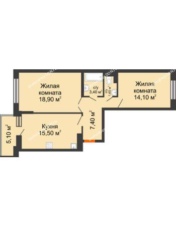 2 комнатная квартира 63,5 м² в ЖК Династия, дом Литер 2