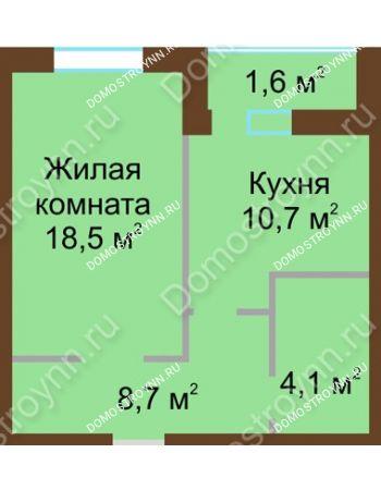 1 комнатная квартира 44,9 м² в ЖК Монолит, дом № 89, корп. 1, 2