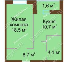 1 комнатная квартира 44,9 м² в ЖК Монолит, дом № 89, корп. 1, 2 - планировка