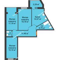 3 комнатная квартира 89,7 м² в ЖК Бунина парк, дом 3 этап, блок-секция 3 С - планировка