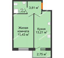 1 комнатная квартира 37,53 м² в ЖК Артемовский квартал, дом Секция 5 - планировка