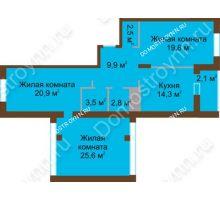 3 комнатная квартира 101,4 м² в ЖК Монолит, дом № 89, корп. 1, 2 - планировка