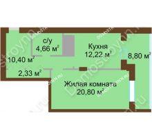 1 комнатная квартира 59,21 м² - ЖК Олимп