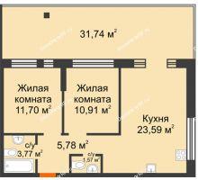 """2 комнатная квартира 57,32 м² в Микрорайон Звездный, дом ГП-1 (Дом """"Меркурий"""") - планировка"""
