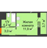 Студия 22,8 м², ЖК Космолет - планировка
