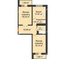 2 комнатная квартира 65,4 м² в ЖК Мой город, дом Литер 3 - планировка